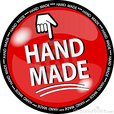Red hande made button