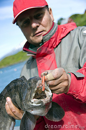 Fisherman with wolffish