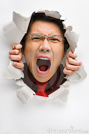 Man screaming from the hole in wall