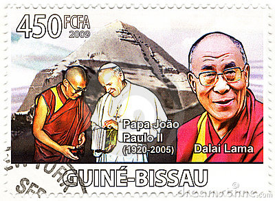 Stamp with Dalai Lama and Papa Paul II