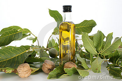 Walnut oil in a bottle