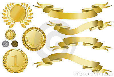 Golden ribbons, medallions and medal