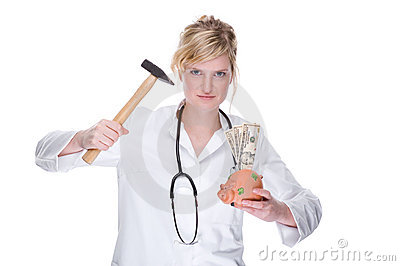 Doctor with piggybank (dollar)