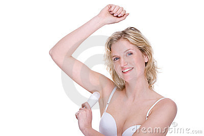 Woman with deodorant