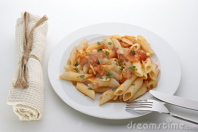 Pasta with organic tomato and spices