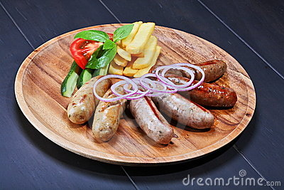 Assortment of grilled sausages