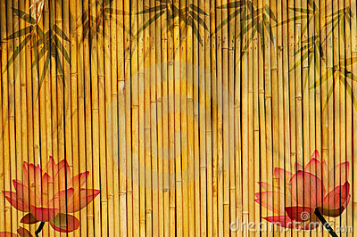 Bamboo background with lotus