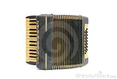 Vintage black accordion isolated on white backgrou