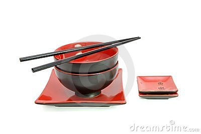 Red and black oriental table set isolated