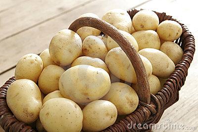 Basket full of potatoes