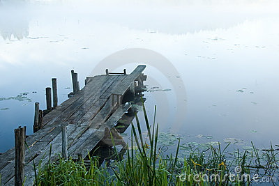 Pontoon in fog