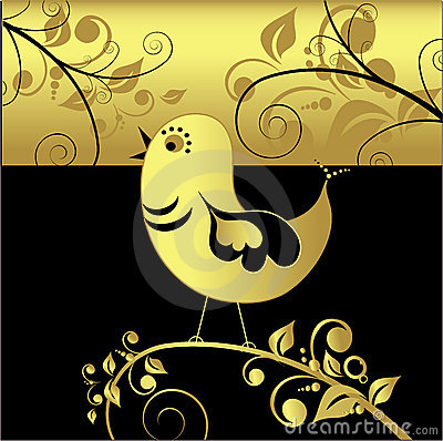 Black and gold bird, vector