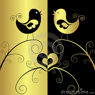 Birds in love, vector