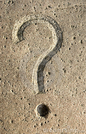 Question mark carving on stone