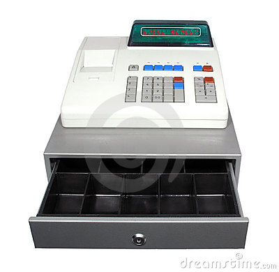 Cash register on a white background.