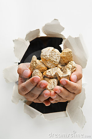 Breakthrough wall holding gold nuggets