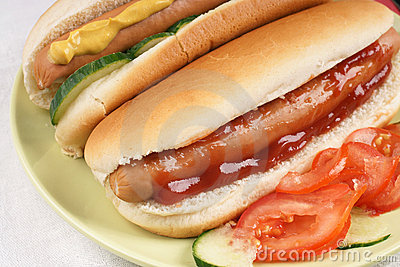 Hot Dogs with salad