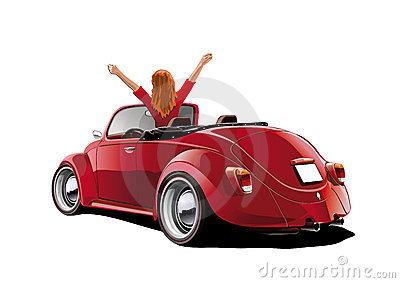 Women in a red convertible
