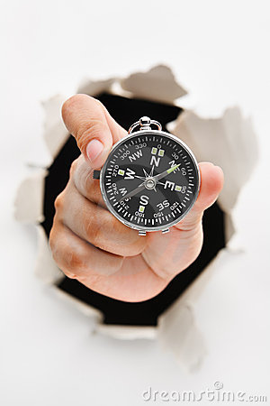 Hand breakthrough wall holding compass