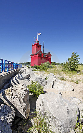 Big red lighthouse in Michigan