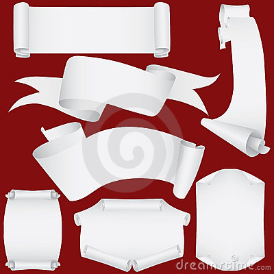 Paper banners and scrolls set (vector, CMYK)