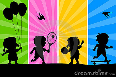 Kids Playing Silhouettes [2]
