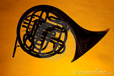 French Horn Silhouette Isolated on Yellow