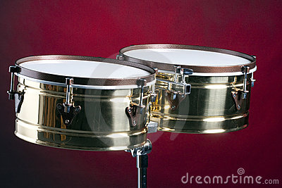 Timbale Drums isolated On Red