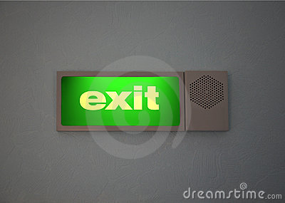 Green Sign of Exit, set on a wall