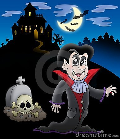 Vampire with haunted house