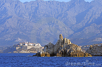 The citadel of Calvi seen from sea