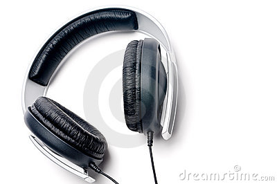 Headphones with black learther padding