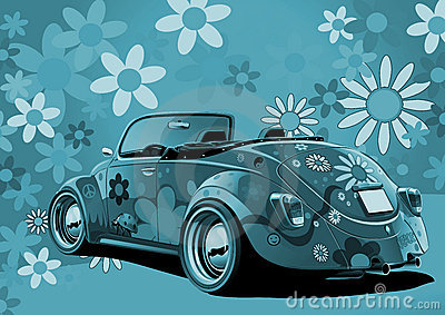 Flower power convertible in blue