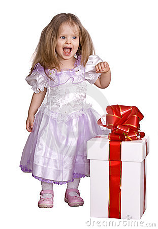 Girl in costume of doll with gift box.