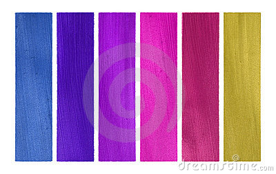 Blues and pinks coconut paper banner set isolated