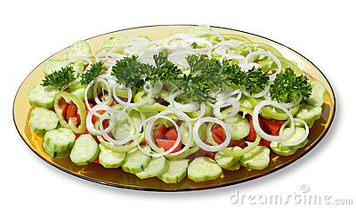 Plate with fresh vegetables salad