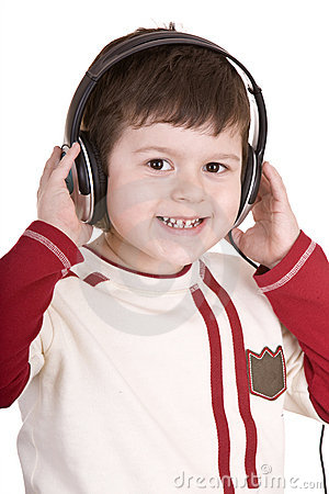 Boy in headphones listen music.