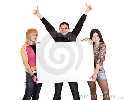 Banner and three young adult.
