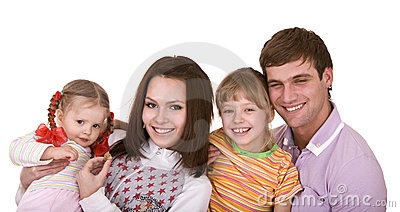 Happy family with two child.