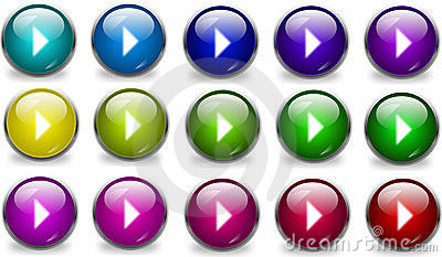 Collection of glossy play buttons