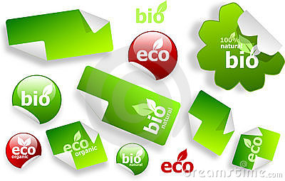 Set of eco and bio stickers
