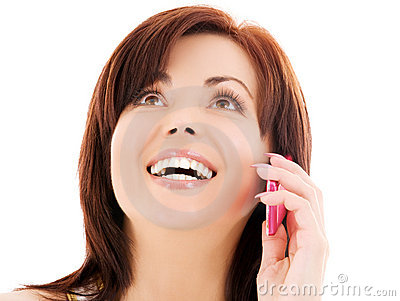 Happy woman with cell phone