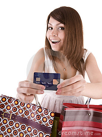 Girl with  bag and credit card.