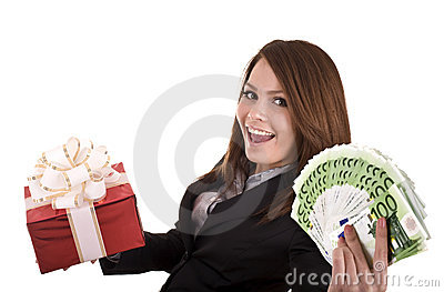 Business woman with money and gift, box.