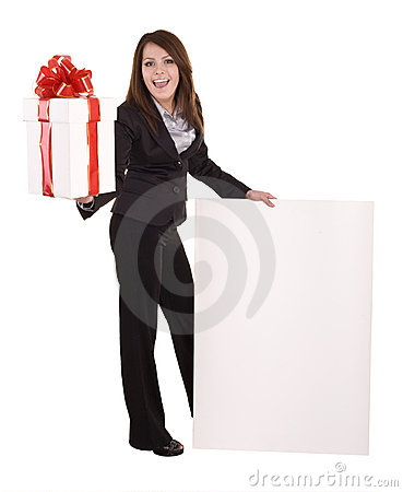Business woman with gift box, banner