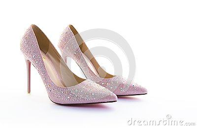 Pair of pink sparkly high heel shoes