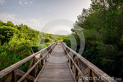 A boardwalk bridge to Playa de Muro beach in Can Picafort, Mallorca