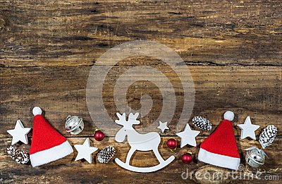 Christmas reindeer and santa hats decoration