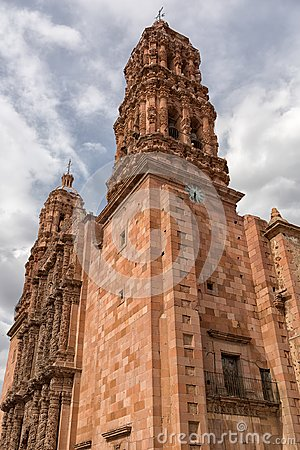 Church tower in Zacatecas Mexico