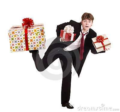 Man with falling gift box run.